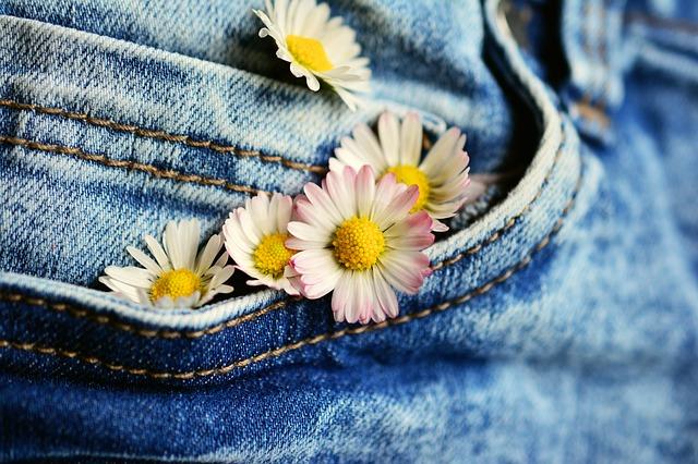 kwiaty na spodniach